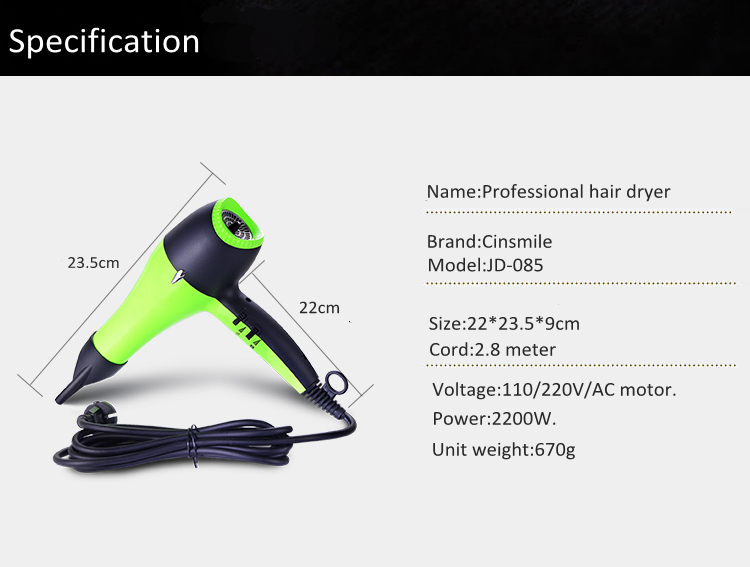 New Products 2018 Innovative Product Hair Dryer Professional Salon Household Ionic Infrared 2200W Hair Dryer Styler Machine Set