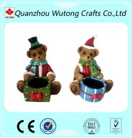 Christmas resin candle holder teddy bear holiday items