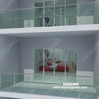 Flexible railing/handrail/balustrade with glass panels