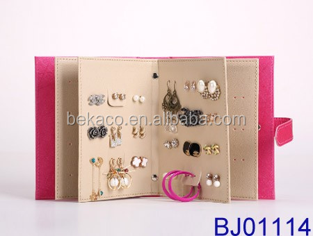 Fancy Jewelry Holder PU Leather Earring Stud Book holding 42 pairs