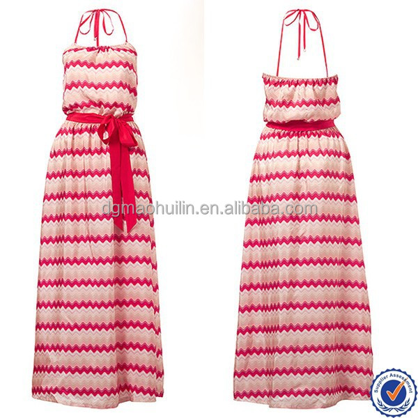 Korea ladies fashion clothing dresses in turkish style halter long maxi dress beach wear