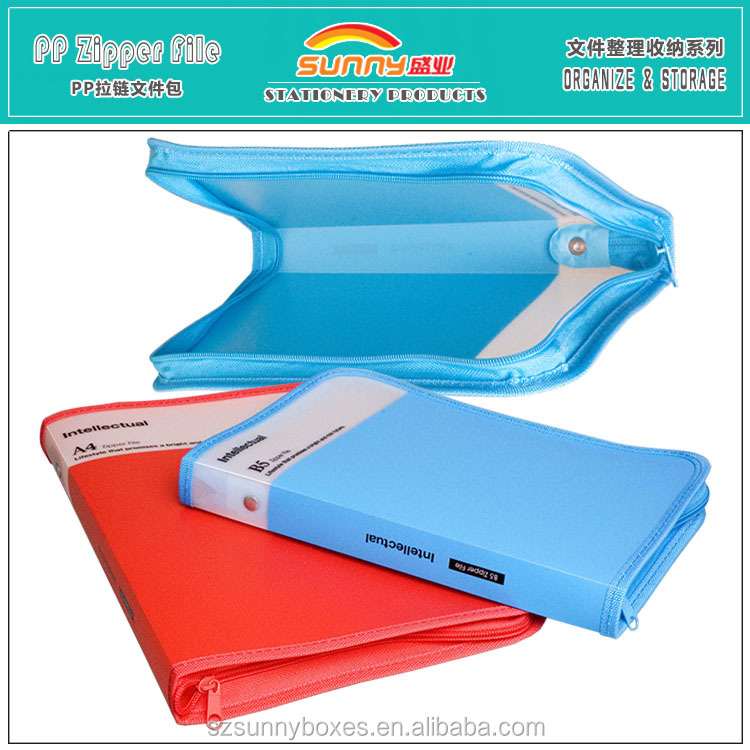 Customized Printed Hard PP Office File & Document Bags With Zipper