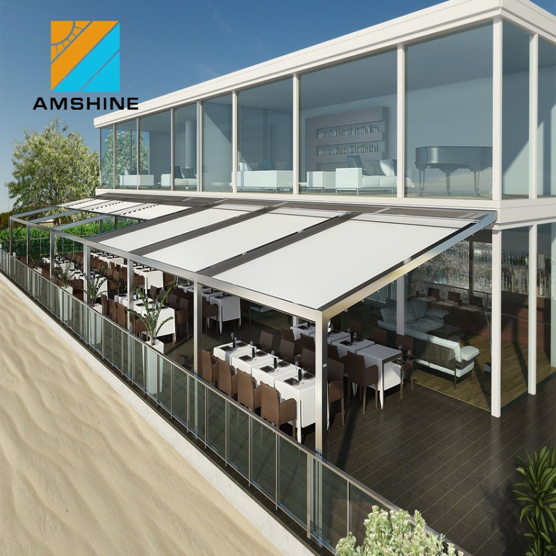 retractable pergola roof awning supports /electric sunshade awning