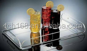 clear acrylic serving trays/lucite bottle tray /fruit juice tray