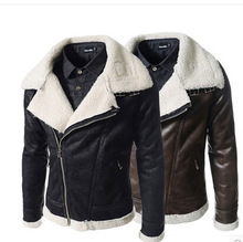 Men's Chrome Russian leather point jacket With Raccoon Fur Collar