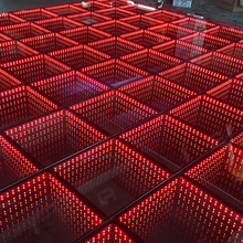 Top 3d led dance floor 50*50cm cheap wedding party event infinite tunnel mirror full color lighting led 3D stage floor