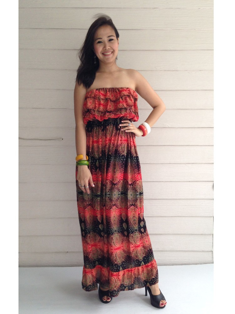Wholesales Elegant Woman Floral Printing Long Maxi Dress