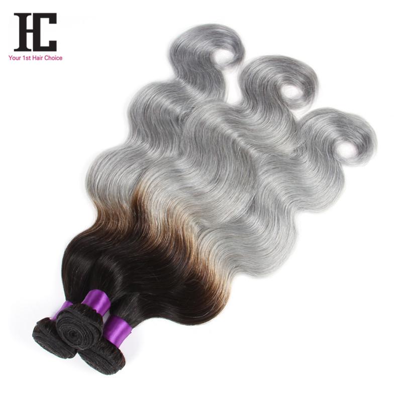 Buy 7a Mink Brazilian Hair 3 Bundles Grey Hair Weave Ombre Human
