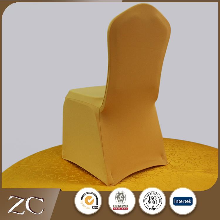 High quality fancy party customized dining 300gsm gold lycra chair covers