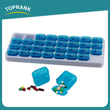 Toprank Factory Supply Portable Plastic Medicine Pill Storage Organizer 31 Day Monthly Pill Box With Pop-out Compartment Pods