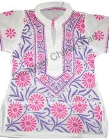 Cotton girl frock - coloured embroidered