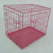 colorful pet house Pink Portable Folding Dog Pet Crate Cage Kennel withTwo Door ABS Tray