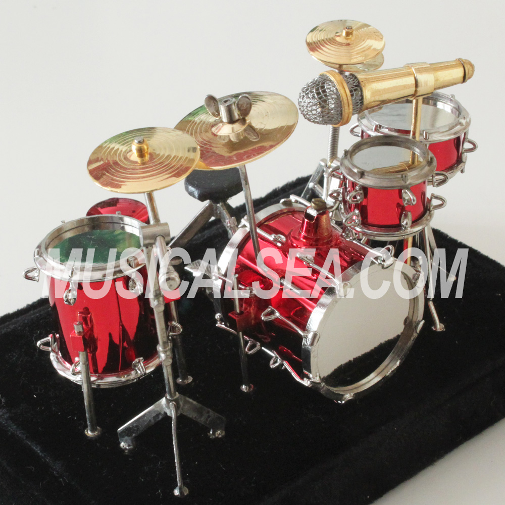 Red Miniature Drum set/ Drum kit ornament musical instrument gifts for hand-made metal craft
