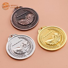 trophies awards metal medal with red ribbon gold silver bronze plating good quality custom medal awards