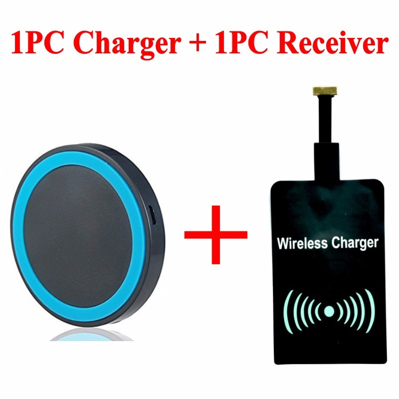 Circle Style Wireless Charger Give 1pcs Receiver as Gift Using for Android Phone