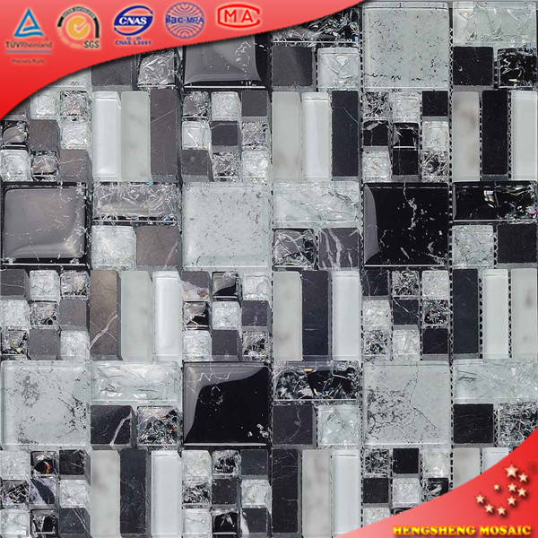 Chinese white and blue 23*23mm crushed cracking bubble glass tile