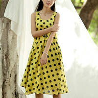 Wholesale top quality fitness bulk cotton sleeveless polka dot ladies dinner dresses