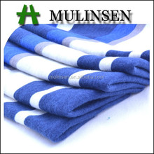 Super soft poly spun fabric for shirts, blue white striped fabric