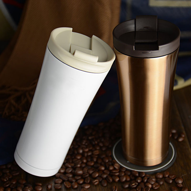 New Double Wall Stainless Steel Coffee Thermos Cups Mugs Thermal Bottle 500mL Thermocup Fashion Stainless Steel Auto Cup