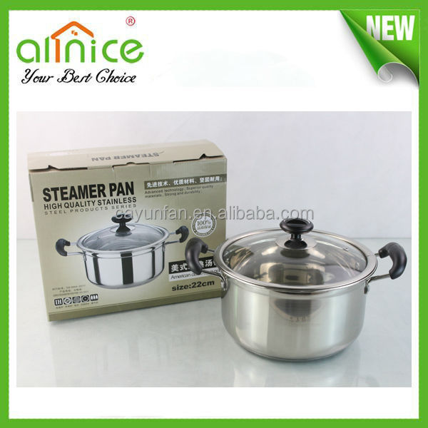 s/s201 super capsule bottom cookware/stainless steel thick bottom pot/professional stainless steel cookware