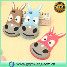 Lovely 3d cartoon animal burro silicon cellphone case for iphone 6s rubber gel cover