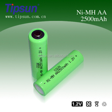 1.2V AA SIZE NI-MH rechargeable battery 2500mAh for Camera accessories ,Video devices ,microphone,hand held game