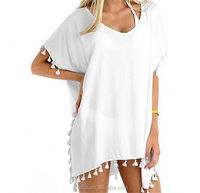 Tassel Hem Gauze Cover Up Women Deep V-Neck Sexy Solid Beach Dress Summer Bikini 2017 Hot Coverup Dress
