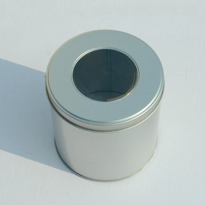 Small Round Gifts Or Cosmetic Metal Tin Box With Clear PVC Window
