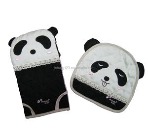 Panda Pattern Bakery Oven Gloves With Potholder 2pcs Cotton Oven Mitts