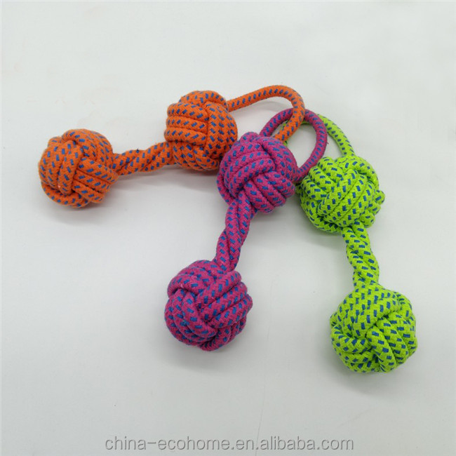 Cute Pet Dog Braided Twisted Cotton Rope Chew Double Knots Toys