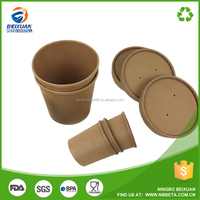 Disposable kraft paper soup cup with customized paper lid (Very good quality)