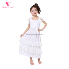 sleeveless backless pattern formal solid white ruffled kids girls maxi dresses with lace trims