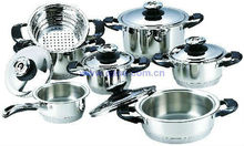 hot sell wide-edge cooking pots 12pcs stainless steel cookware set