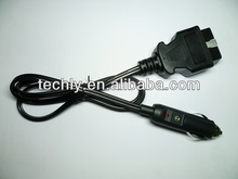 UV cable 17/0.16 2C cable OBDii to male Cigarette with 2A fuse cable adapter