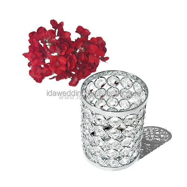 round crystal votive candle holder , iron plating centerpiece for table decoration