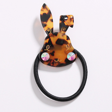 Cute Women Cellulose Acetate Elastic Bunny Hair Bands Jewelled Rabbit Scrunchy Rubber Band Headwear Hair Rope Tie