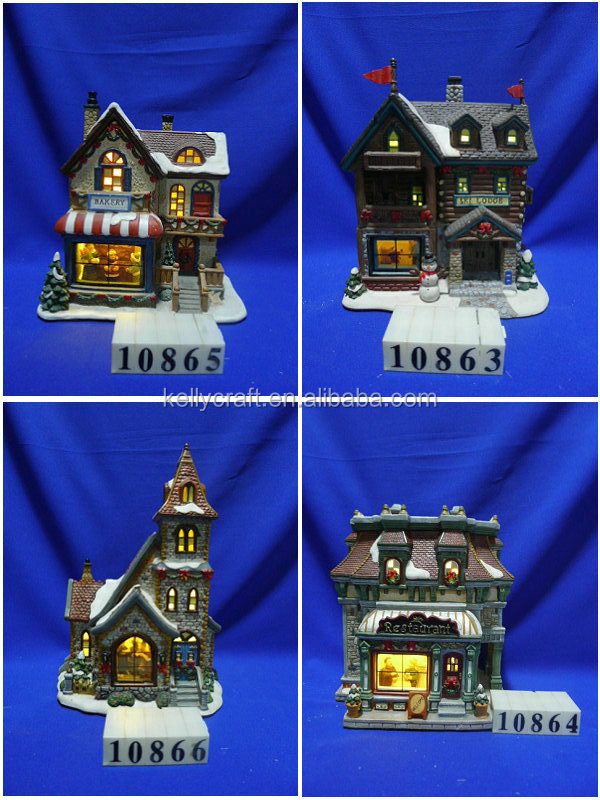 lighted ceramic christmas village houses