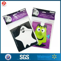 non-toxic & eco-friendly plastic printed treat bags for candy/cookies small cheap custom bags for Happy Halloween