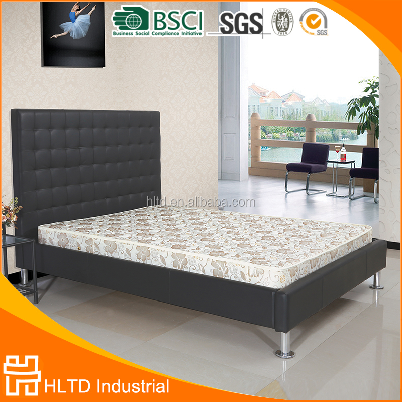 High headboard leather bed with night table