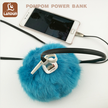 Fashion Pompom Keychain Power Bank Rex Rabbit Charge Mobile Phone Power Bank