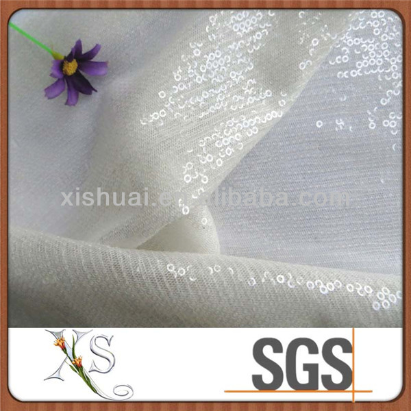 Latest Fashion Dresses Fabric Transparent Sequin Paillette Embroidered Tulle Fabric