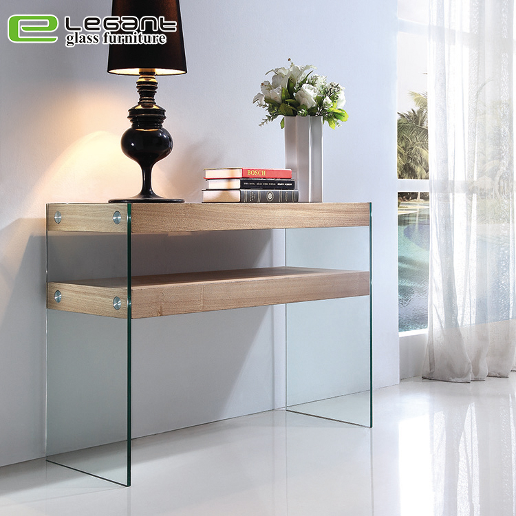 Clear Console Table with Bent Glass