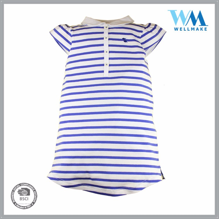 OEM girls' striped yarn dyed casual fancy dress