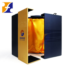 Custom Luxury Faux pu leather wooden Wine Glass Bottle Packaging Box /Promotion Gift Box