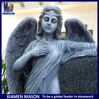 Antique Weeping Angel Tombstone With Cemetery
