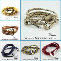 Fashion well selling modern yellow leather wrap anchor bracelet