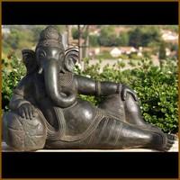 China factory carving good quality bronze reclining ganesh geneisha statue for religious ornament