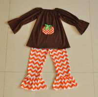 chocolate long sleeve top with pumkin emboridered simple baby girl clothing set halloween boutique outfit