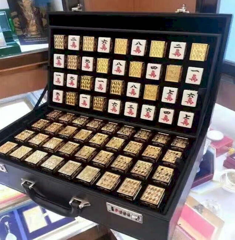 High quality Fancy machine mahjong Gold plated mahjong for automatic mahjong machine Souvenir gifts sale