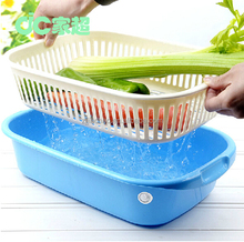 SEDEX approved Double layers square washing draining basket fruit vegetables basket